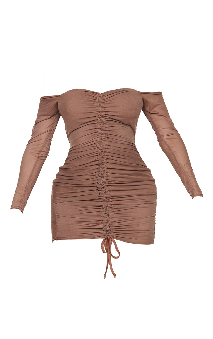 Shape Chocolate Brown Mesh Ruched Bardot Bodycon Dress 5
