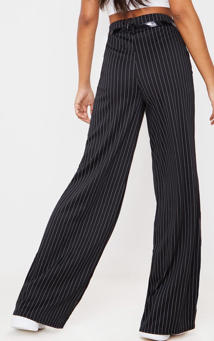Black Pinstripe Wide Leg Belted Pants 4