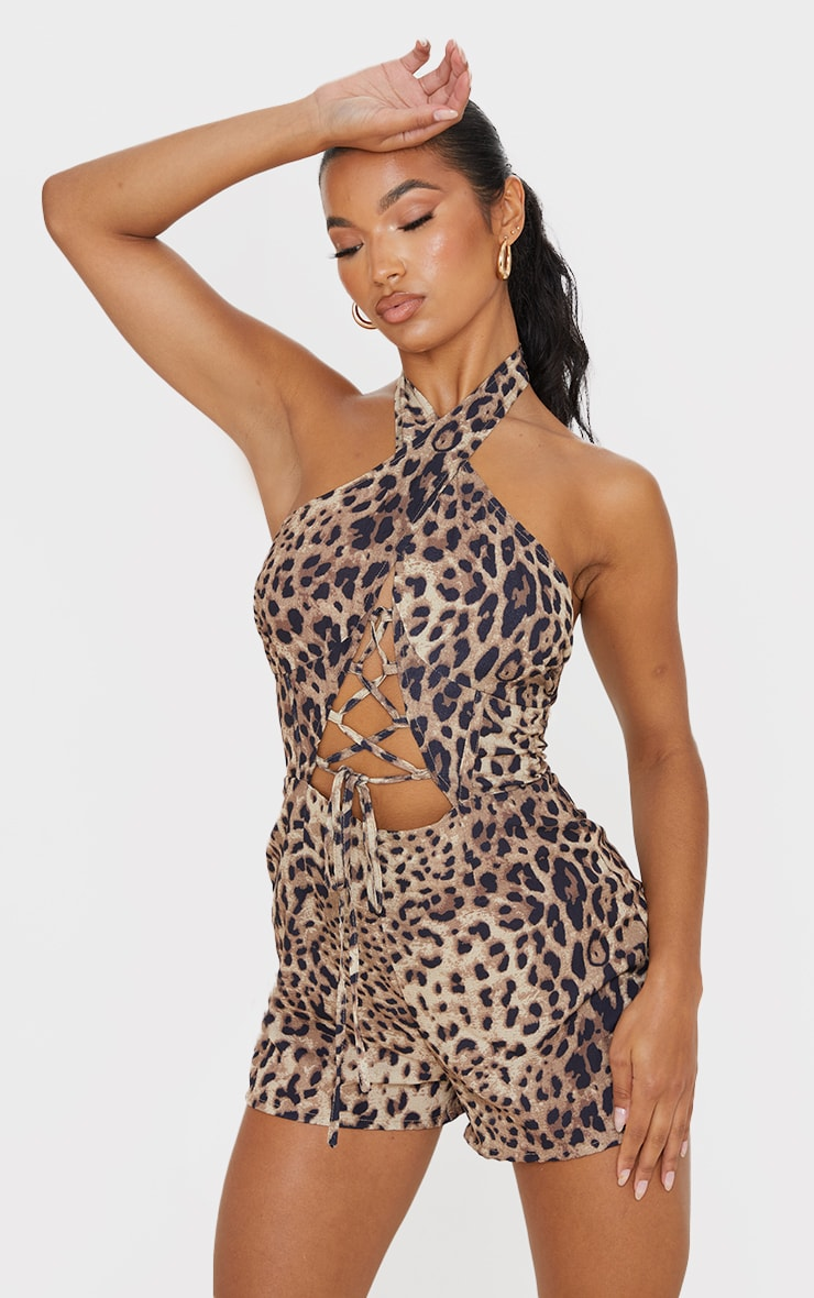 Tan Leopard Print Lace Up Plunge Romper 1