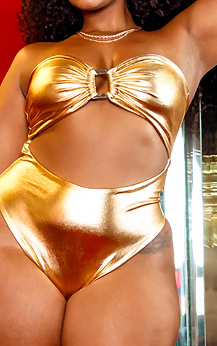 PLT Plus - Maillot de bain bandeau à détail anneau doré  4