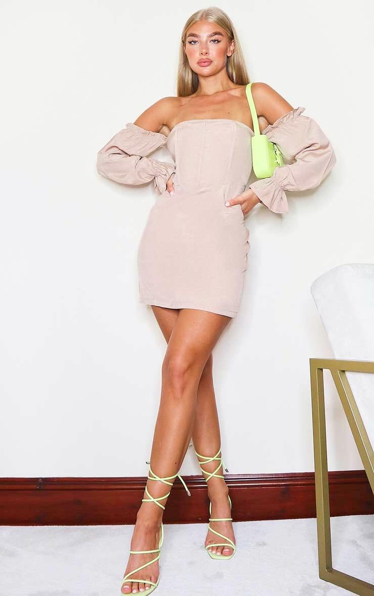 Stone Bardot Corset Detail Woven Bodycon Dress 3