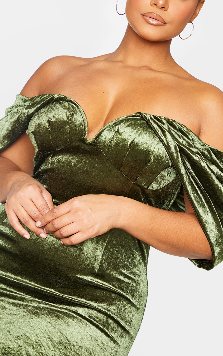 Plus Olive Velvet V Bar Bodycon Dress 4