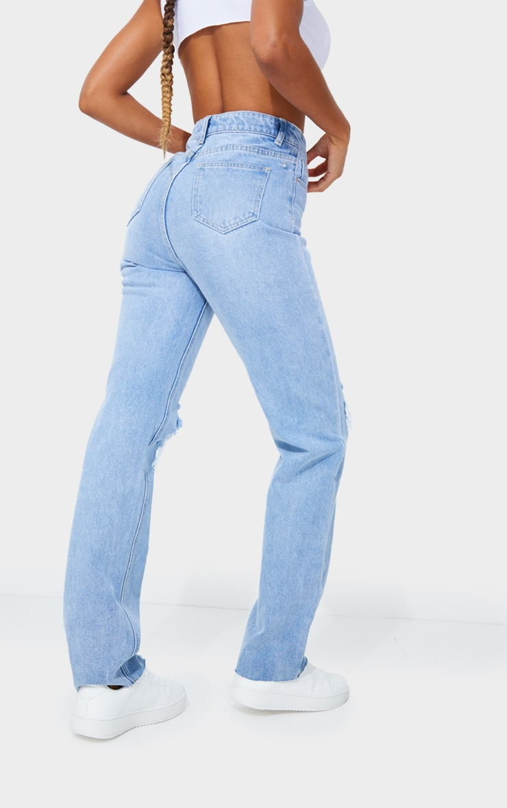 PRETTYLITTLETHING Light Blue Wash Distressed Long Leg Straight Jeans 3