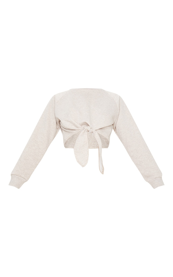 Stone Marl Tie Front Cropped Sweat 3