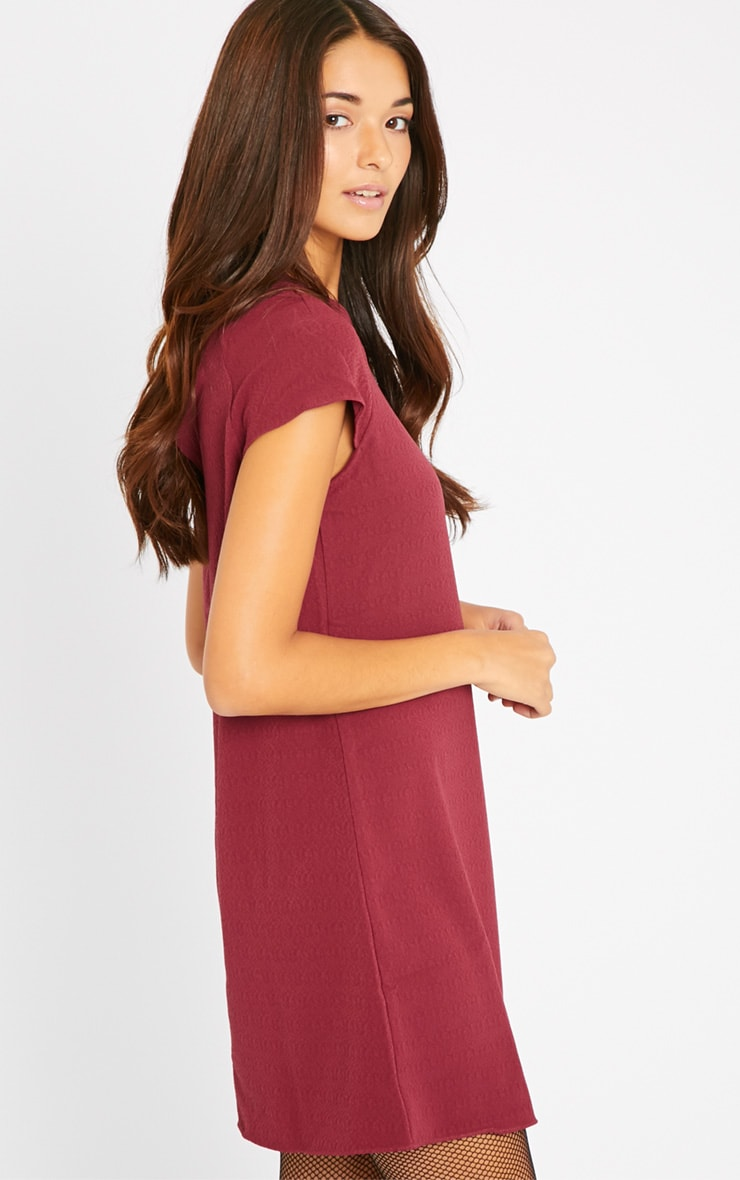 Sabra Berry Waffle Loose Fit Shift Dress 5