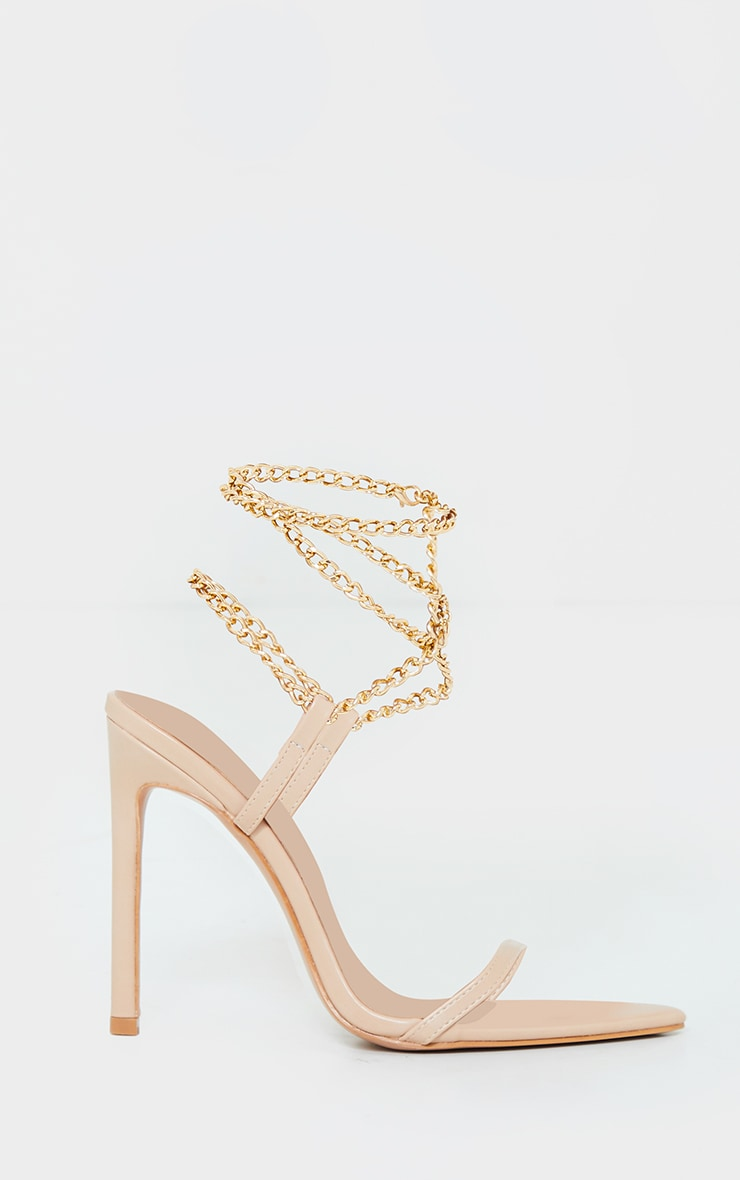 Nude PU Pointed Strappy Chain High Heels 3