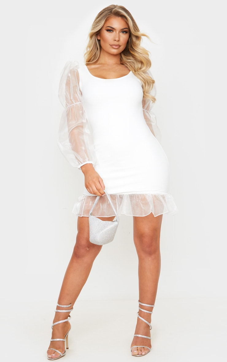 White Mesh Long Sleeve Frill Detail Bodycon Dress 3