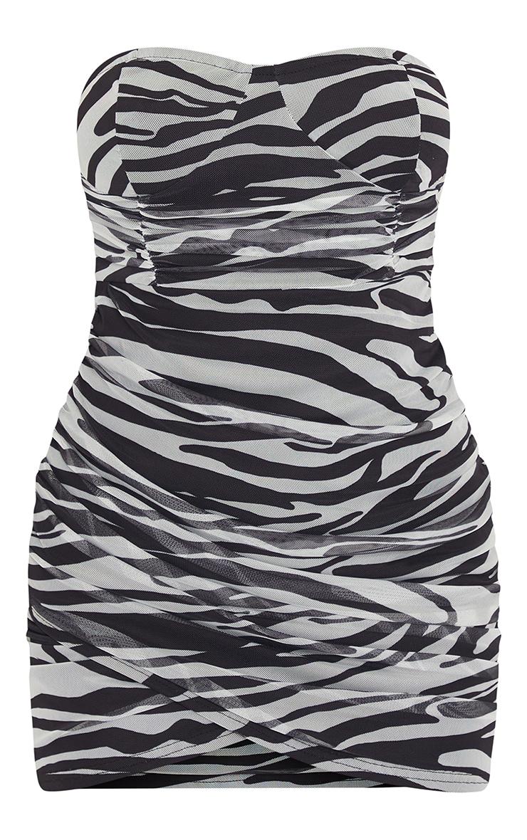 Monochrome Zebra Print Bandeau Ruched Bodycon Dress 5