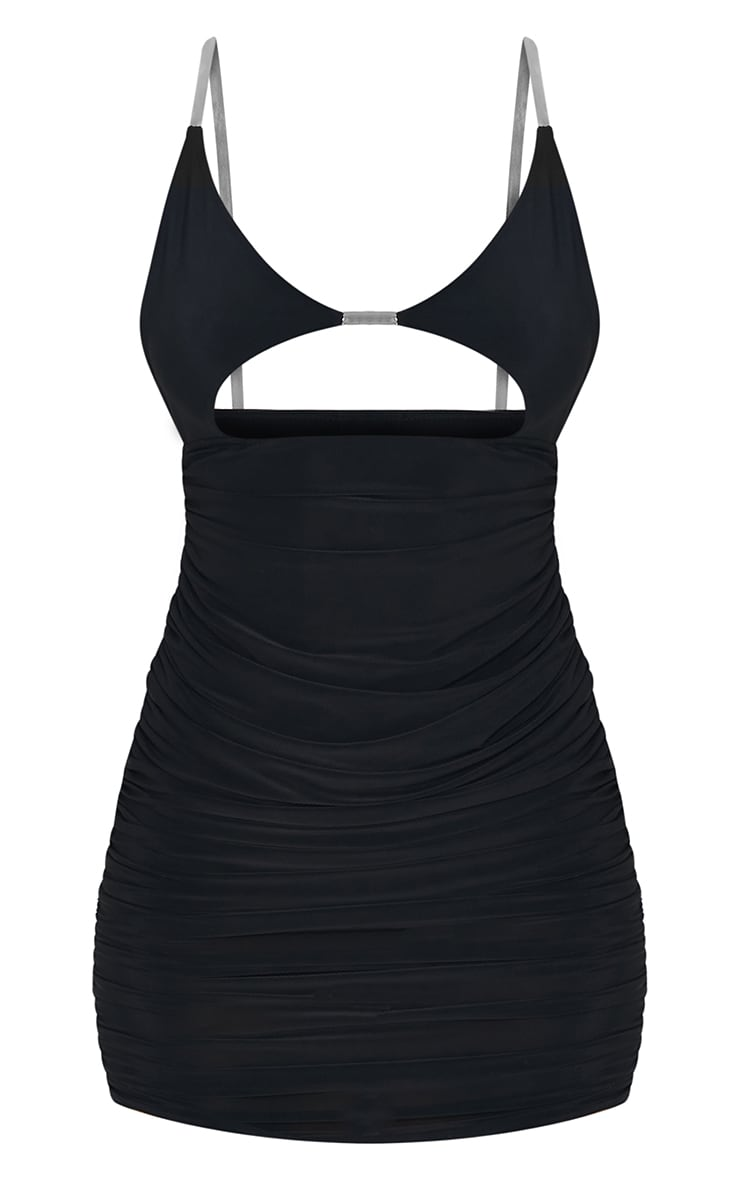 Black Slinky Clear Strap Detail Cut Out Ruched Bodycon Dress 5
