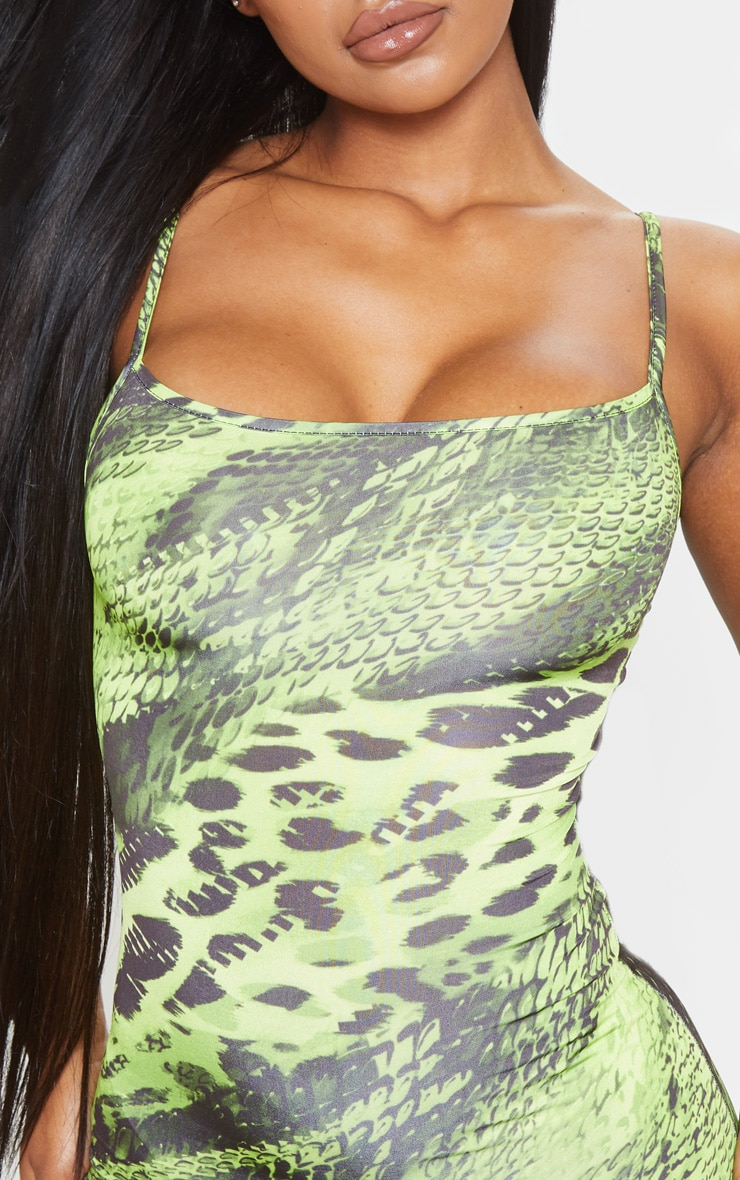 Lime Strappy Animal Print Bodycon Dress 5
