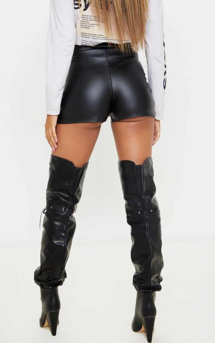 Black Faux Leather High Waisted Zip Detail Short 4