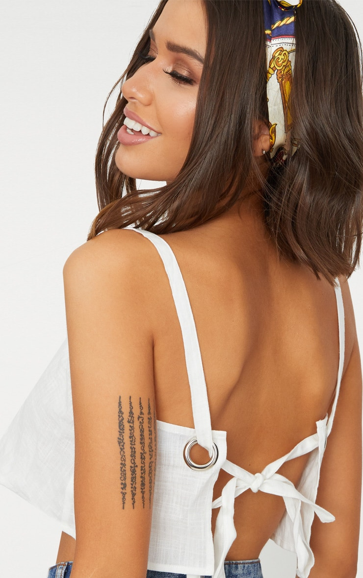 White Linen Ring Detail Open Back Crop Top  5