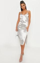 b3dc1508998a Silver Hammered Satin Slip Midaxi Dress   PrettyLittleThing