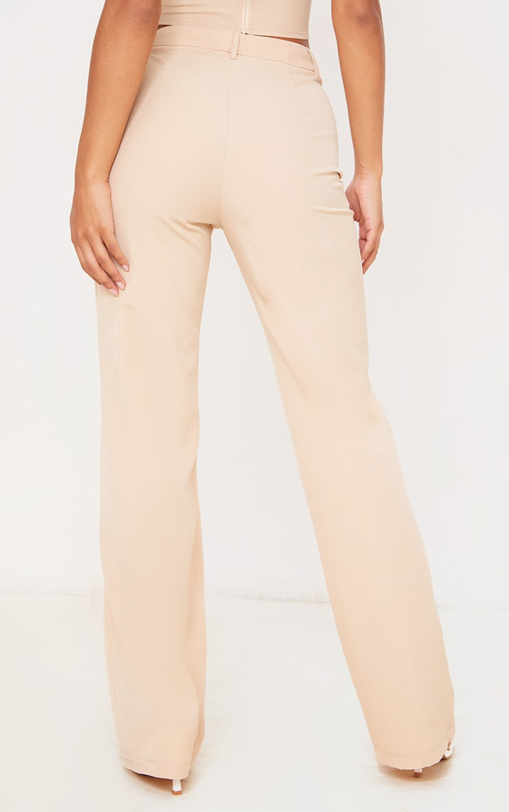 Stone Woven Zip Front Straight Leg Trousers 3