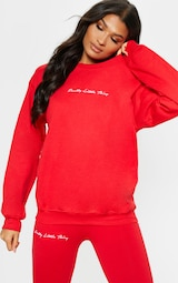 PRETTYLITTLETHING Red Embroidered Oversized Sweatshirt 1