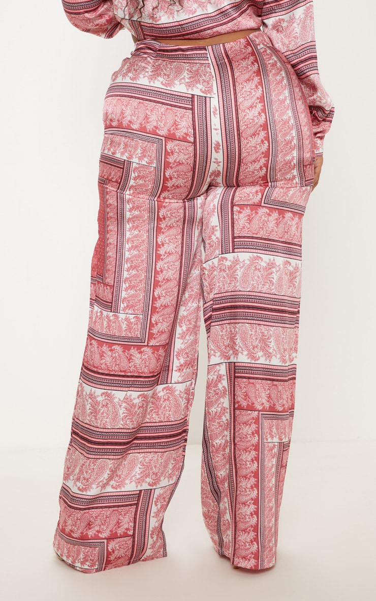 Plus Pink Scarf Print Wide Leg Trouser 5