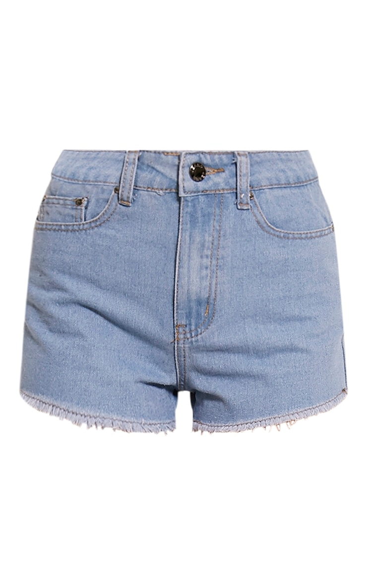 Kalila Light Wash Frayed Hem Denim Hotpants 3