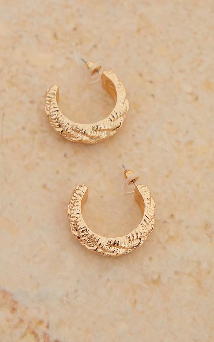 Gold Textured Weave Hoop Earrings 3