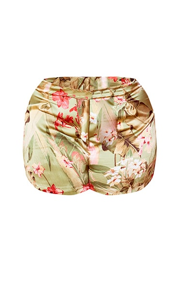 Plus Sage Green Satin Floral Floaty Shorts 6