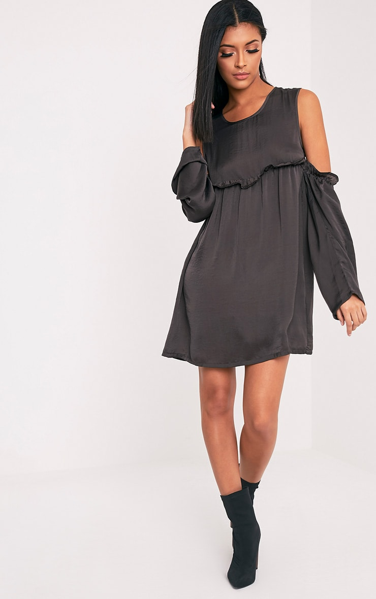 Kylissa Charcoal Cold Shoulder Satin Swing Dress 5