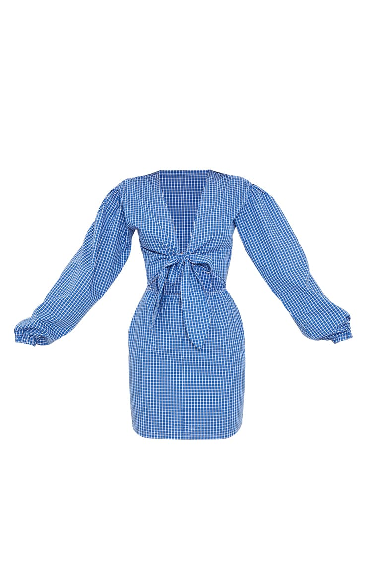 Blue Gingham Bow Tie Front Cut Out Bodycon Dress 5