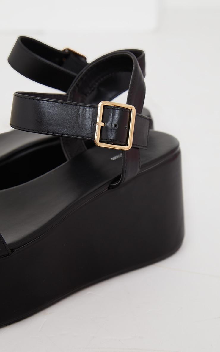 Black Ankle Strap High Flatform Sandals 4