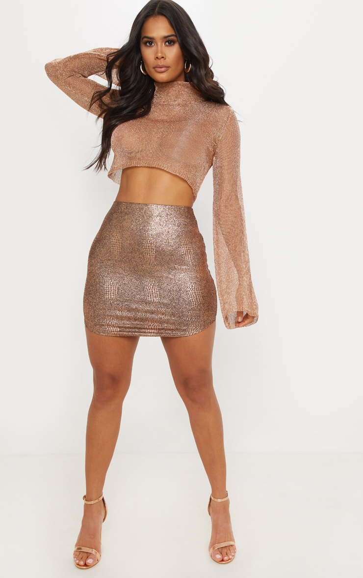 Rose Gold Metallic Knitted Crop Top  4