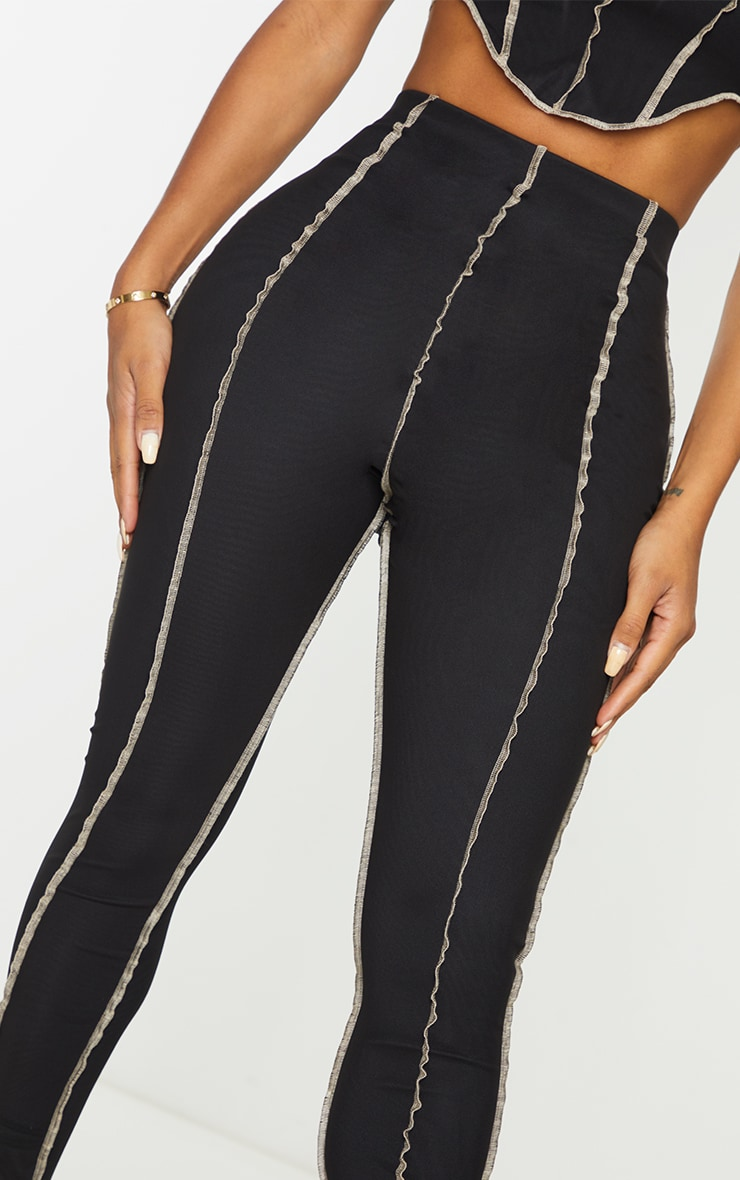 Shape Black Mesh Seam Detail Cropped Leggings 4