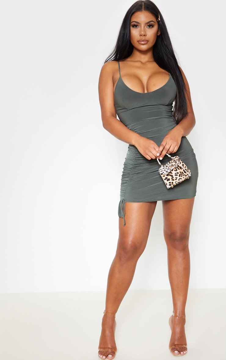 Khaki Slinky Strappy Cup Detail Ruched Bodycon Dress 4