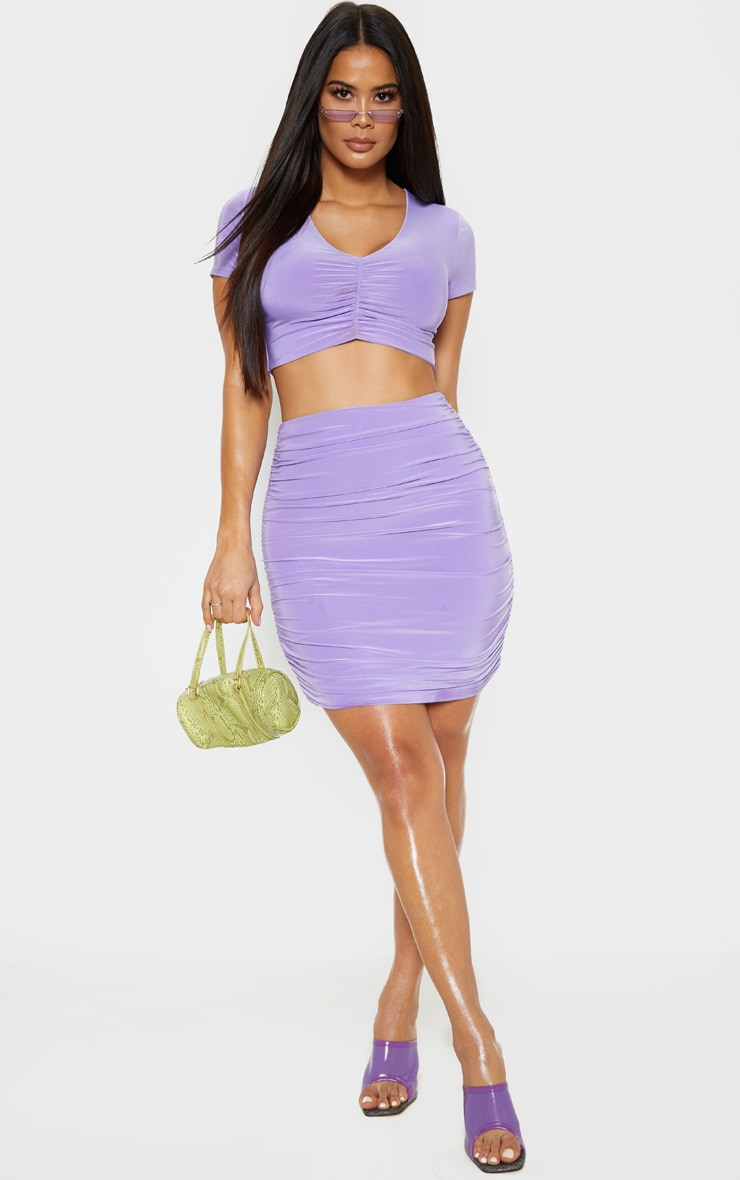 Lilac Slinky V Neck Ruched Front Crop Top 4