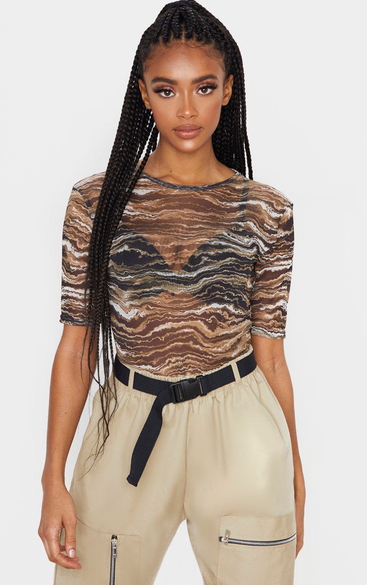 Tan Wave Printed Short Sleeve Bodysuit 1