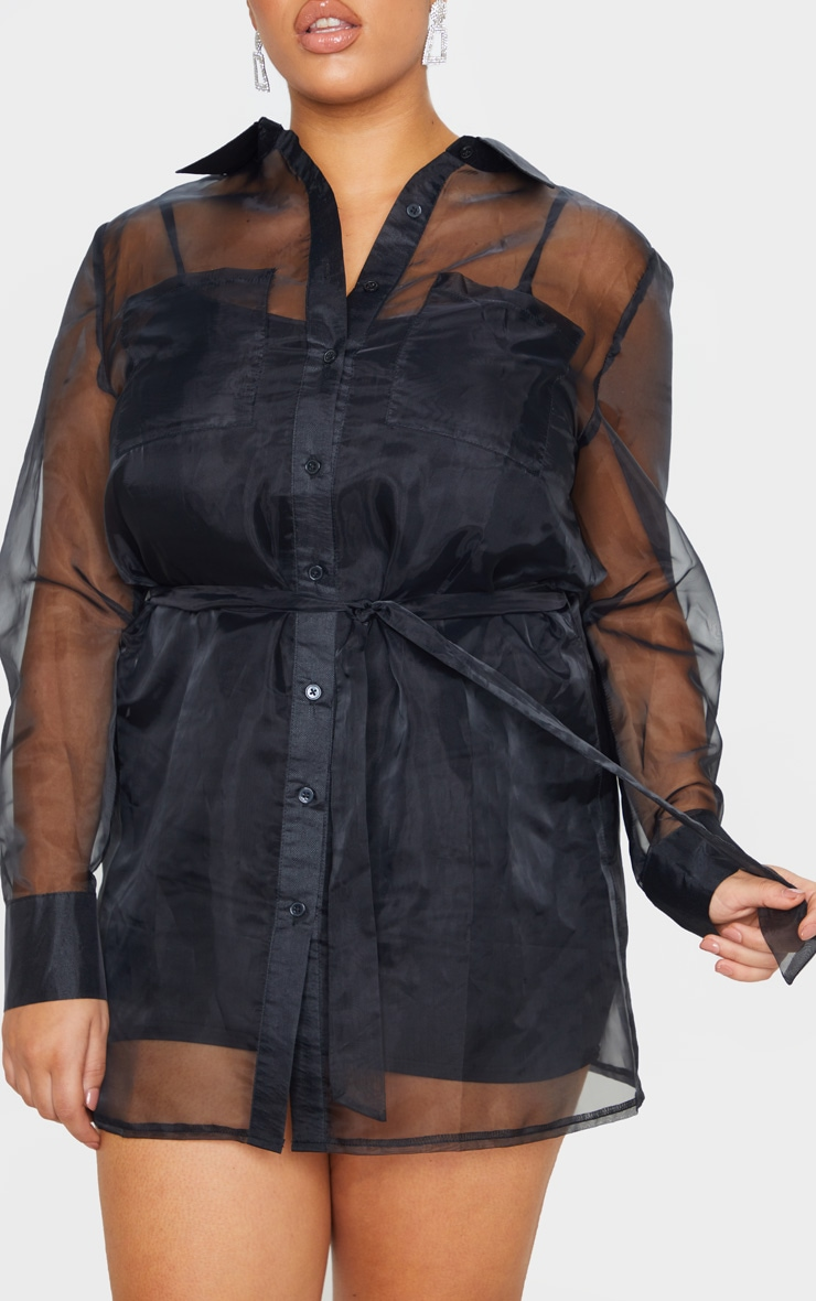 Plus Black Organza Tie Waist Sheer Shirt 4
