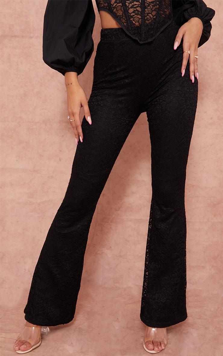 Pantalon flare noir en maille et dentelle à taille haute 2