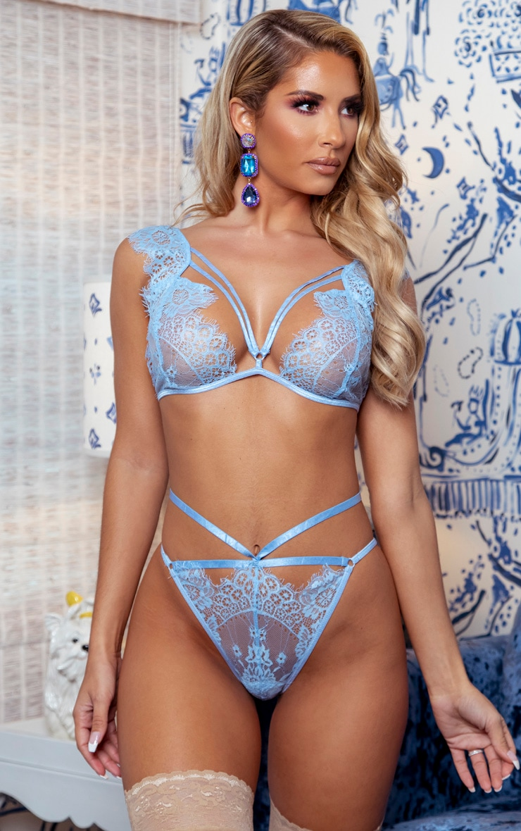 Baby Blue Harness Strap Lace Shoulder Lingerie Set 1