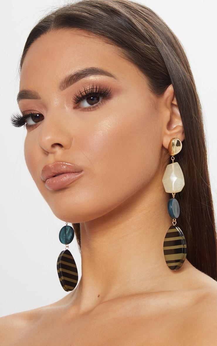 Green Resin Gold Stud Drop Earrings