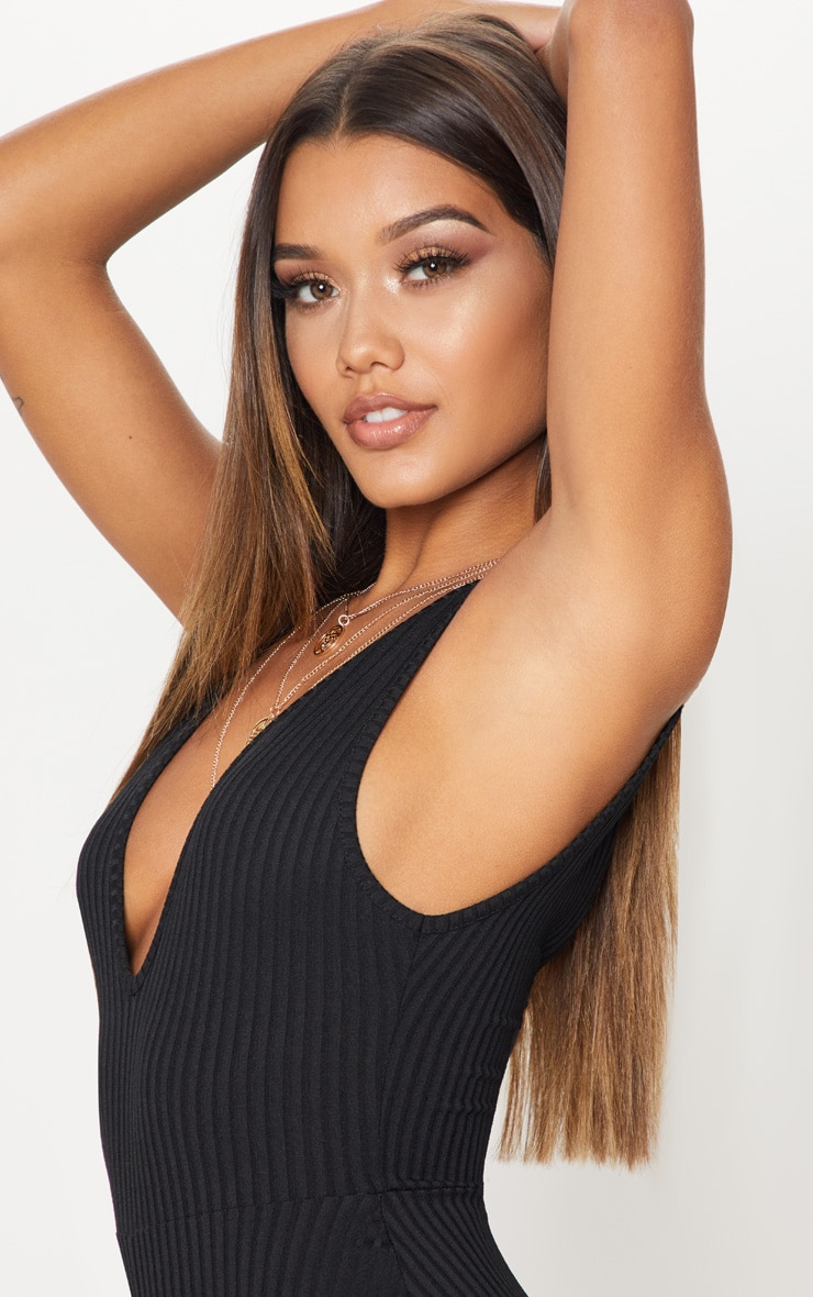 Black Ribbed Plunge Sleeveless Unitard 5