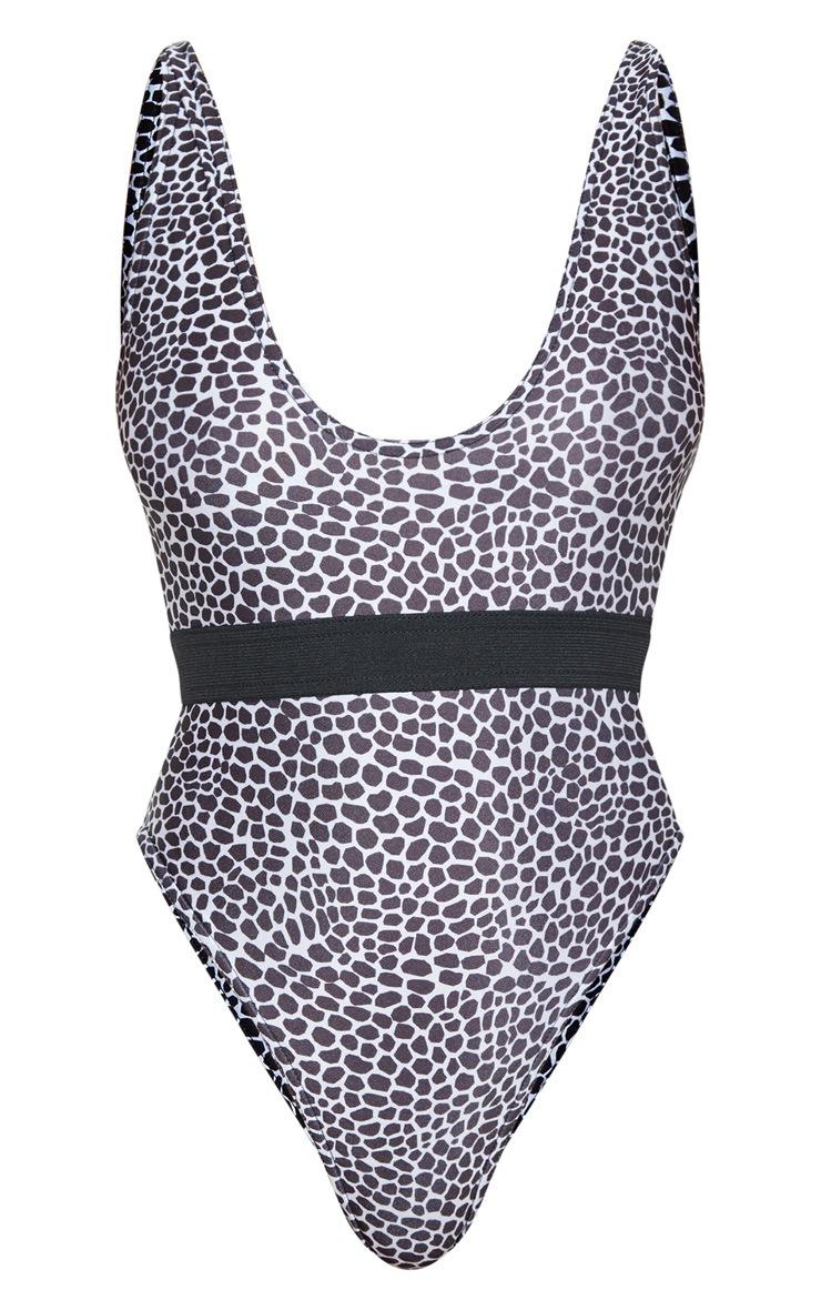 Black & White Lizard Print Elasticated Waist Swimsuit 7