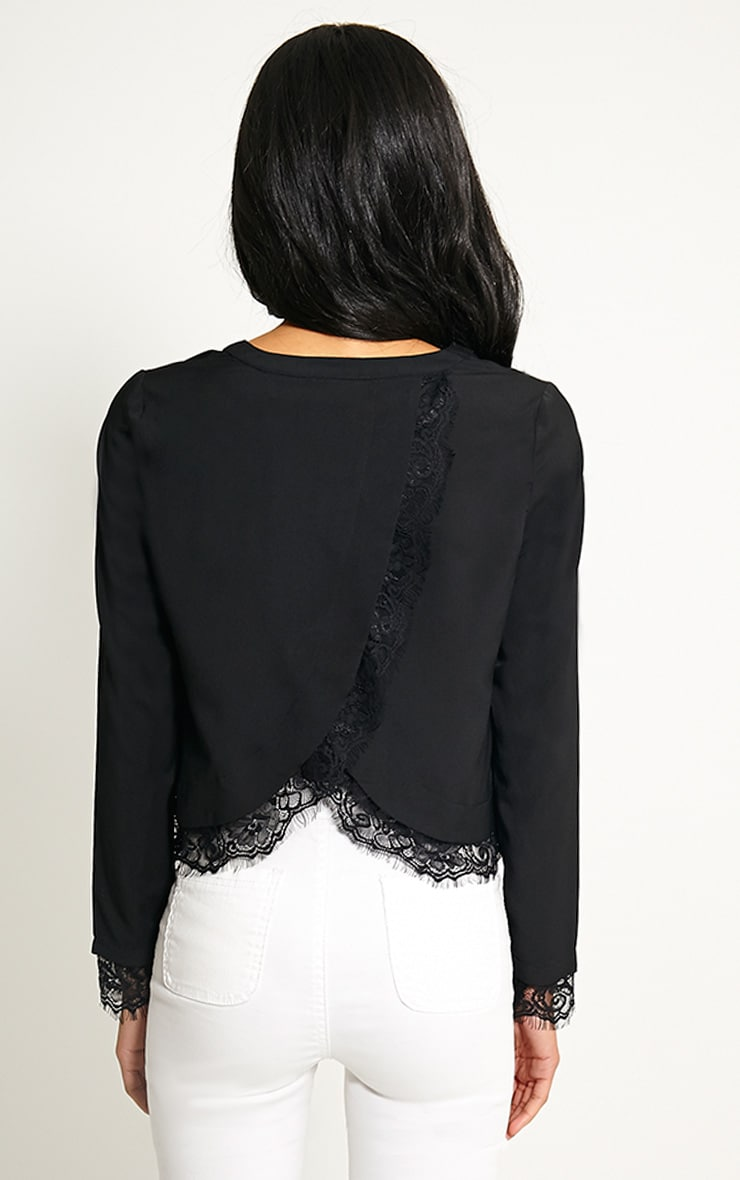 Katty Black Lace Hem Wrap Back Top 3