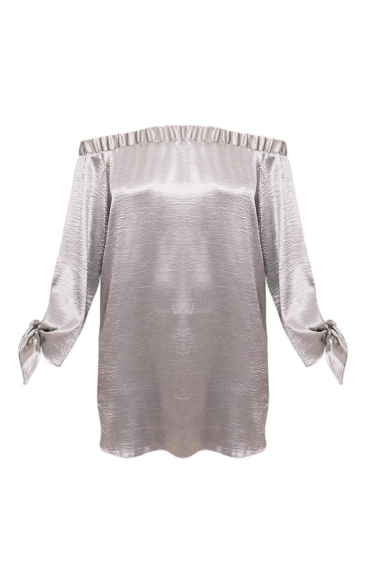 Cay Silver Satin Bardot Shift Dress 3