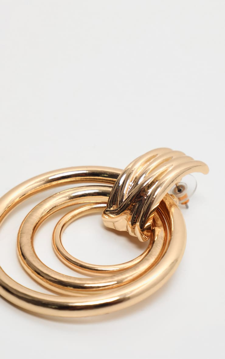Gold Multi Hoop Door Knocker Earring 3