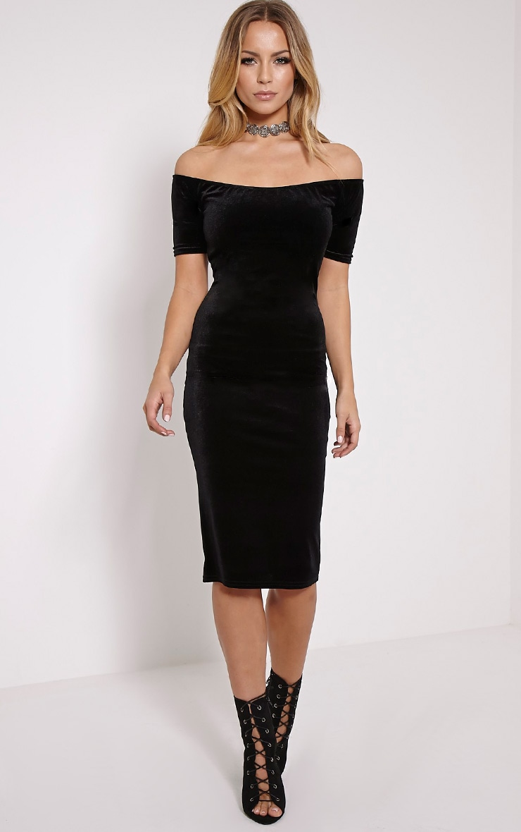 Leonie Black Velvet Bardot Midi Dress 1