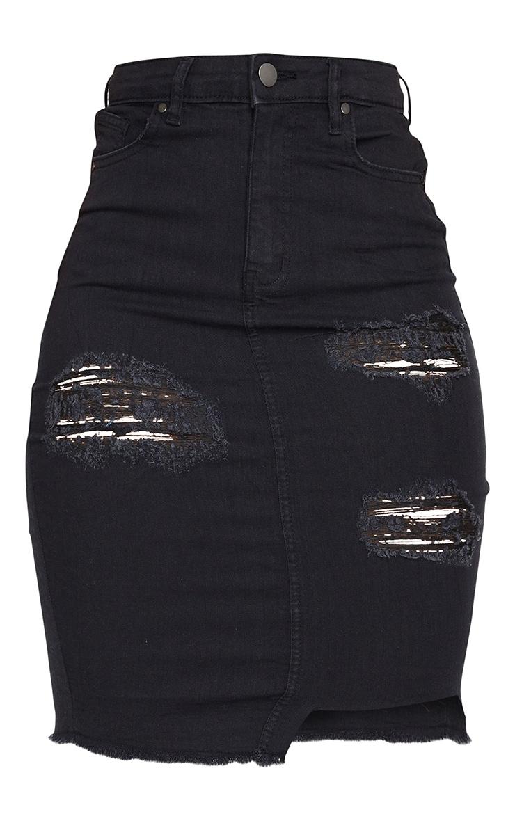 Shape Black Ripped Stretch Cut Hem Midi Denim Skirt 5
