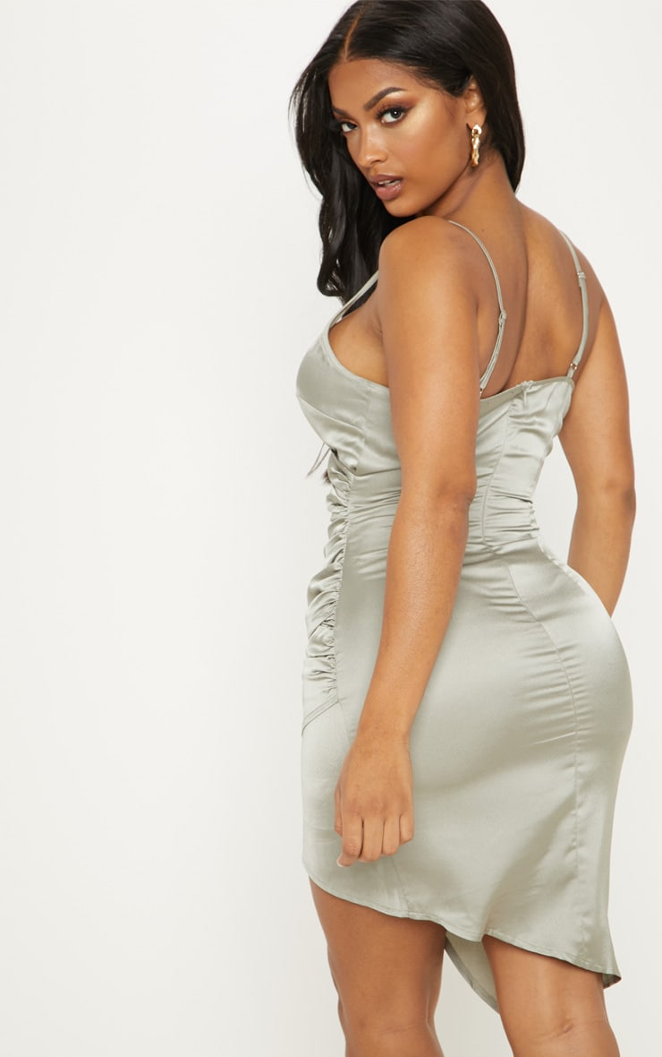 Shape Sage Green Satin Wrap Dress 2