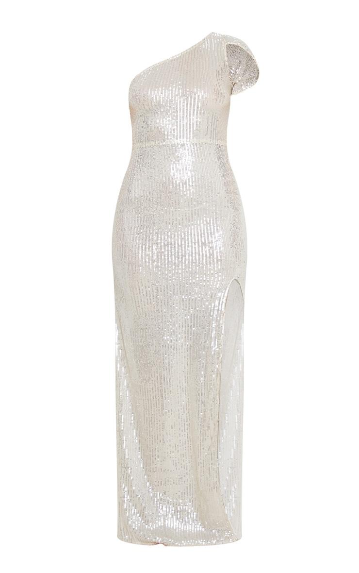 Silver Sheer Sequin One Shoulder Maxi Dress 3