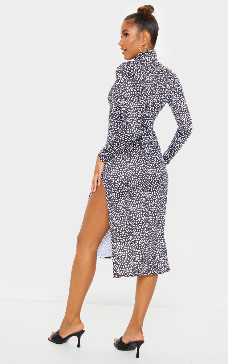 Black Dalmatian Print Long Sleeve High Neck Side Slit Midi Dress 2