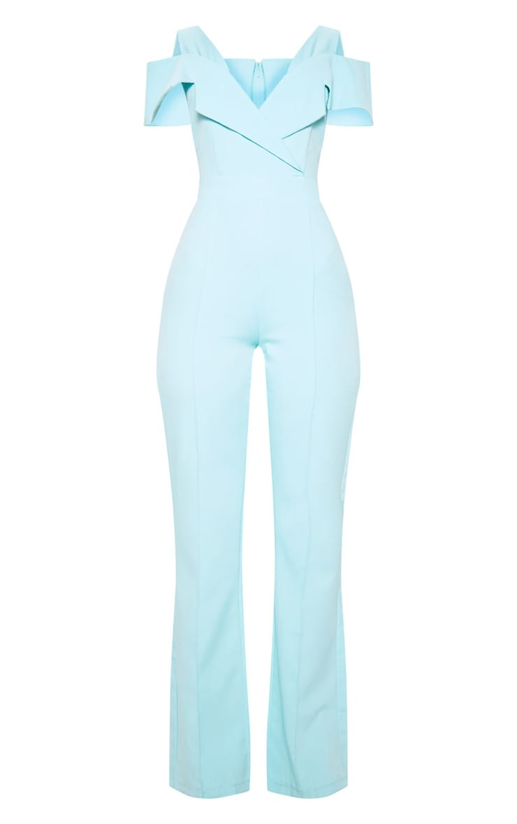 Pastel Blue Lapel Detail Wide Leg Jumpsuit 3