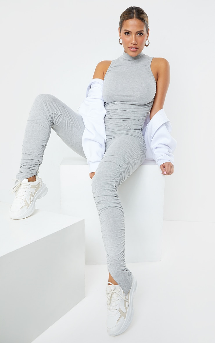 Shape Grey Cotton Sleeveless Ruched Leg Jumpsuit 3