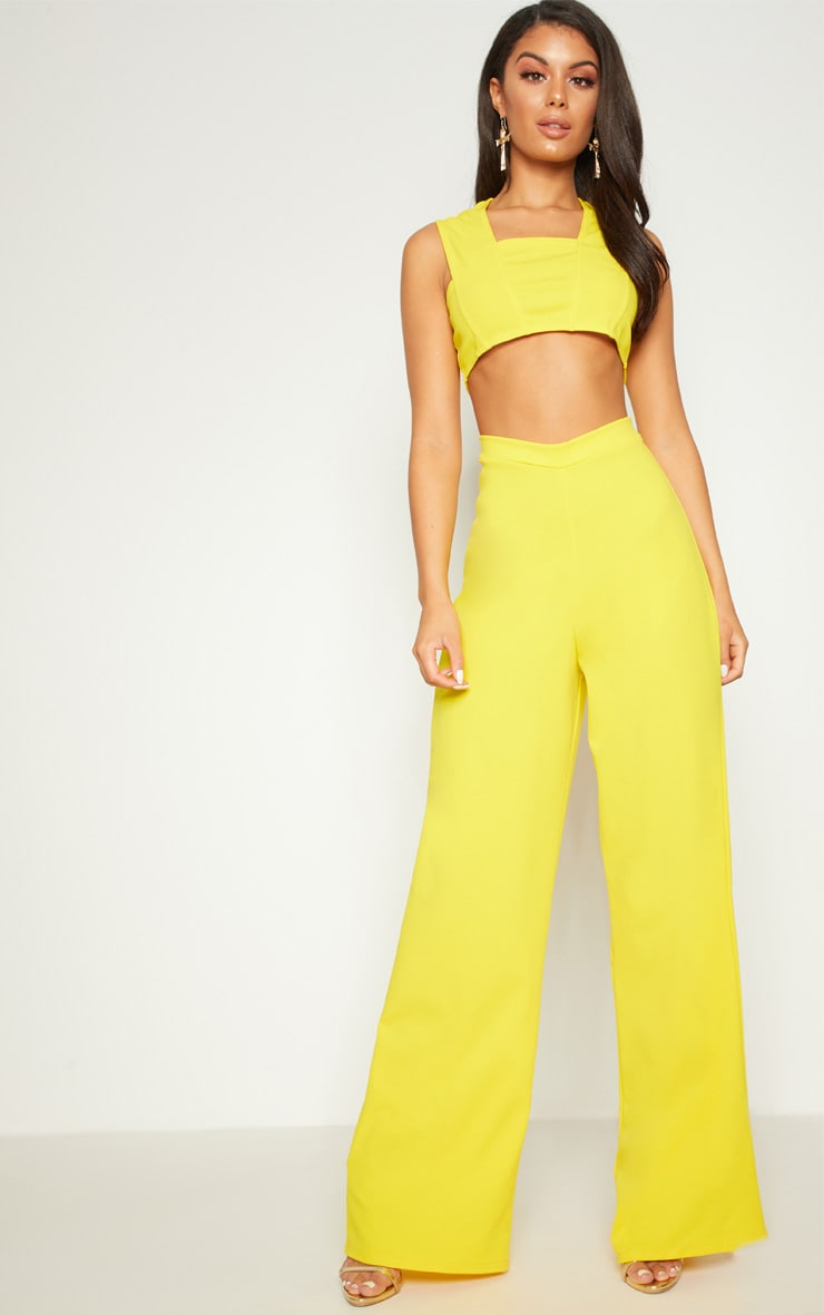 Yellow Crepe Cut Out Jumpsuit