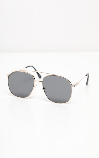 Black Lens Gold Frame Aviator Sunglasses
