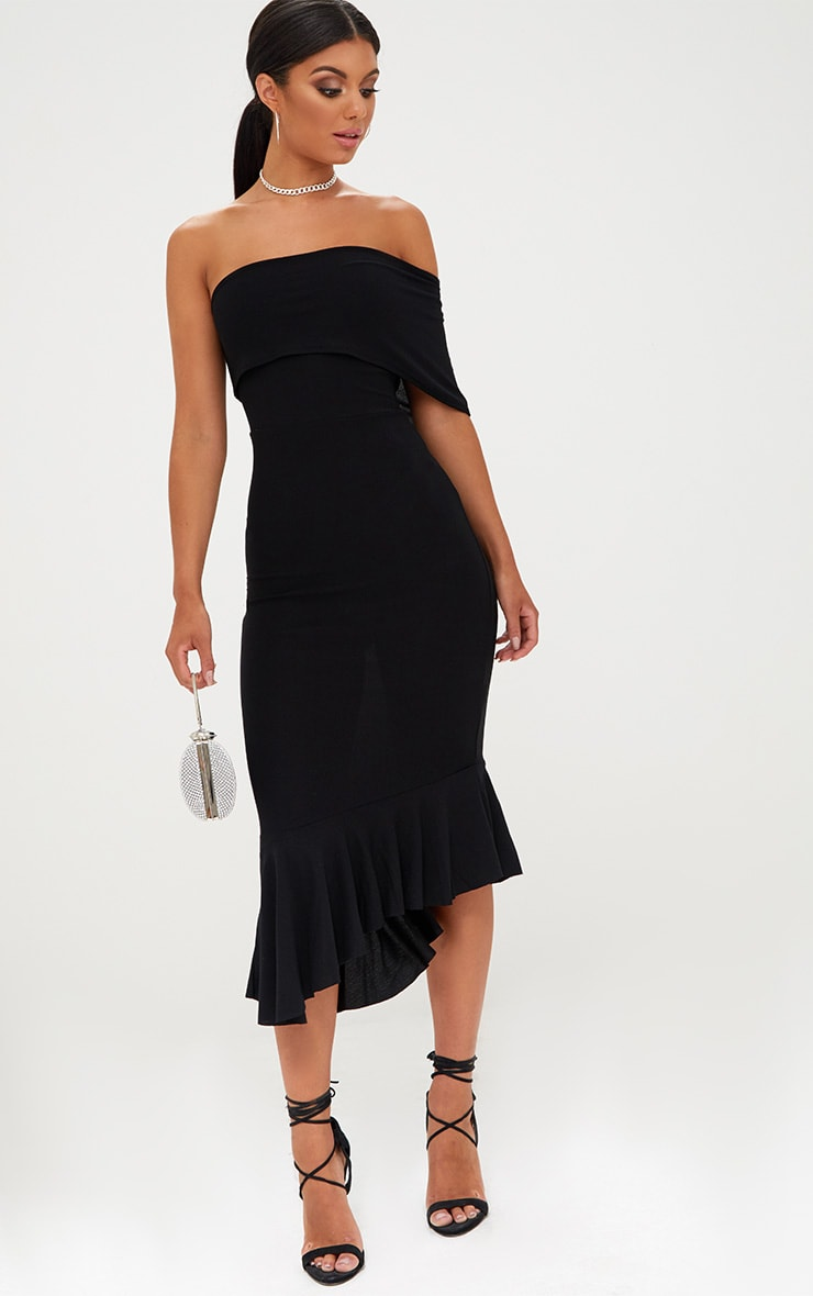 Black Asymmetric Bardot Frill Detail Midi Dress 4